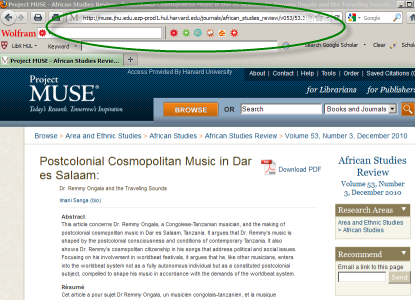 screenshot of Project Muse article with browser URL circled