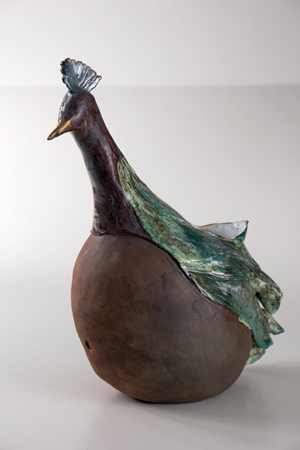 Redemption by Tiffany Leach.  Bird-like vessel pottery.