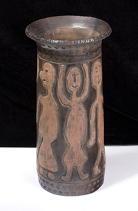 Pot with Carved Figures by Charles M. Brown