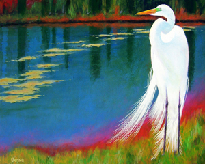 Great Egret Waiting Patiently by Anthony Whiting