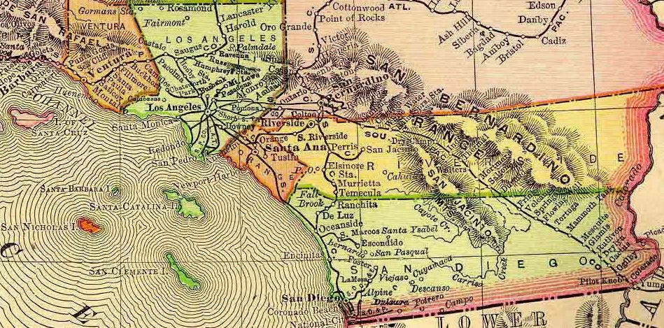 1895 Rand McNally Map of California