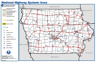 National Highway System Map of Iowa