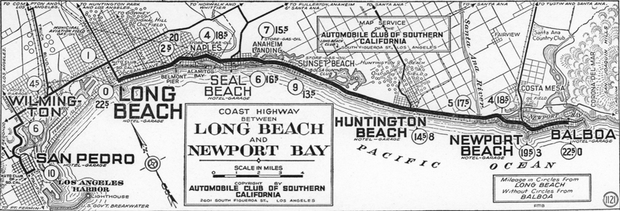 AAA Strip Map :  Long Beach to  Newport Bay