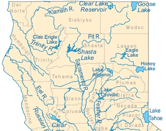 California Rivers Map - California Lake Map: