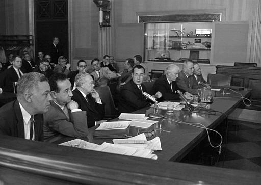 Members of the Federal Communications  Commission appear May 23,1961 before the Senate Commerce subcommittee at a hearing on communications in Washington, D.C.. Left to right are Commissioners Frederick W. Ford; Robert E. Lee, Robert T. Bartley chairman Newton N. Minow, Rosel H. Hyde, T. A. M. Craven and John S. Cross. (AP Photo).