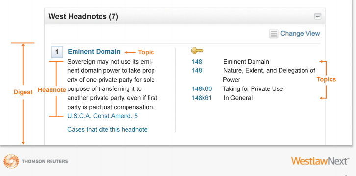 WestlawNext Digest Field for the topic of eminient domain. Right side of image shows Headnote 1 for eminent domain case example. Lower right of image shows the key number outline. Key number 148: Eminent Domain. Below, 148l: Nature, Extent, and Delegation of Power. Below that, 148k60: Taking for Private Use. Below that, 148k61: In General.
