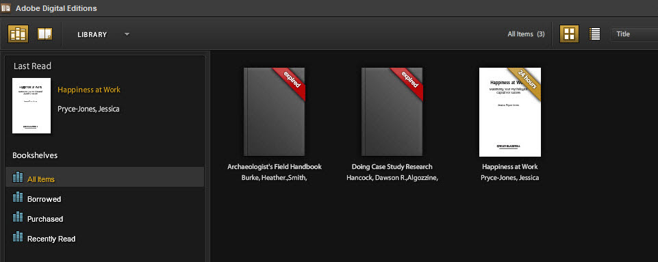 Image of expired and on loan books in Adobe digital editions
