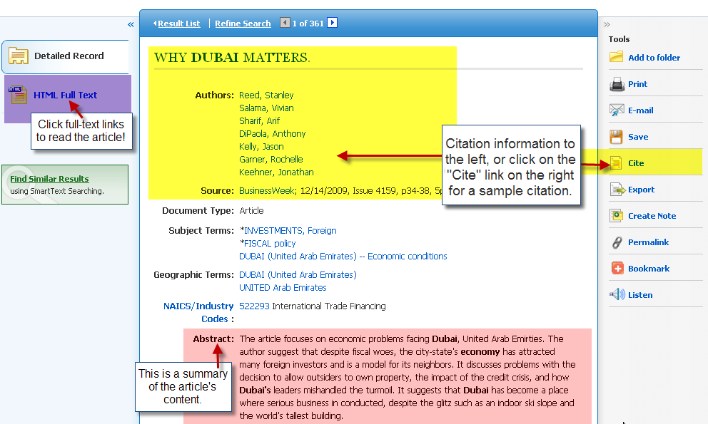 EBSCOhost Screenshot of full text and citation links/information in EBSCO