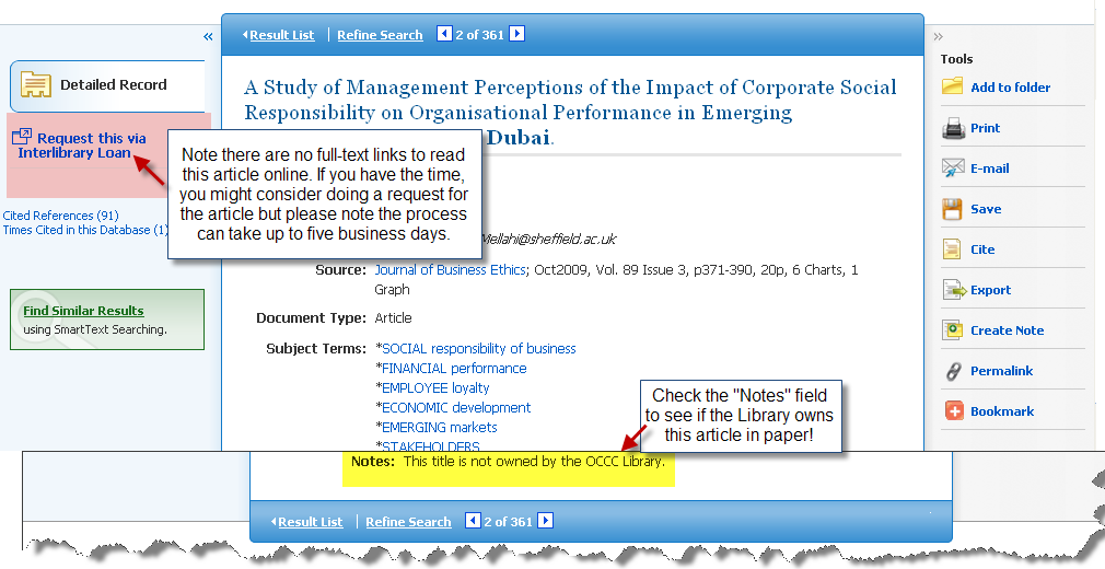 EBSCOhost screenshot of how to request an article via Interlibrary Loan