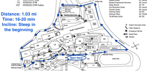 map of glendale college with walking track marked