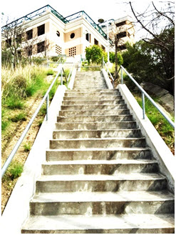 Glendale College stairs to the upper parking lot