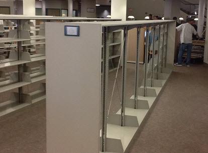 photo of GCC library empty shelves