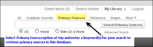 Primary source searching in Gale US History in Context