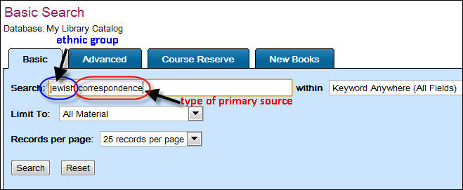 Primary Source Search Library Catalog