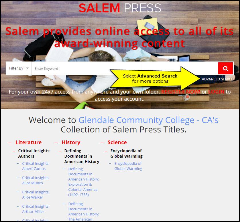 Salem Literature Search Screen