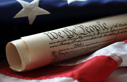 Image of the Declaration of Independence with an American flag