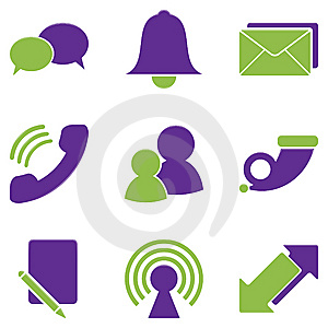 A variety of icons representing telephones, email, the Web, and other forms of communication