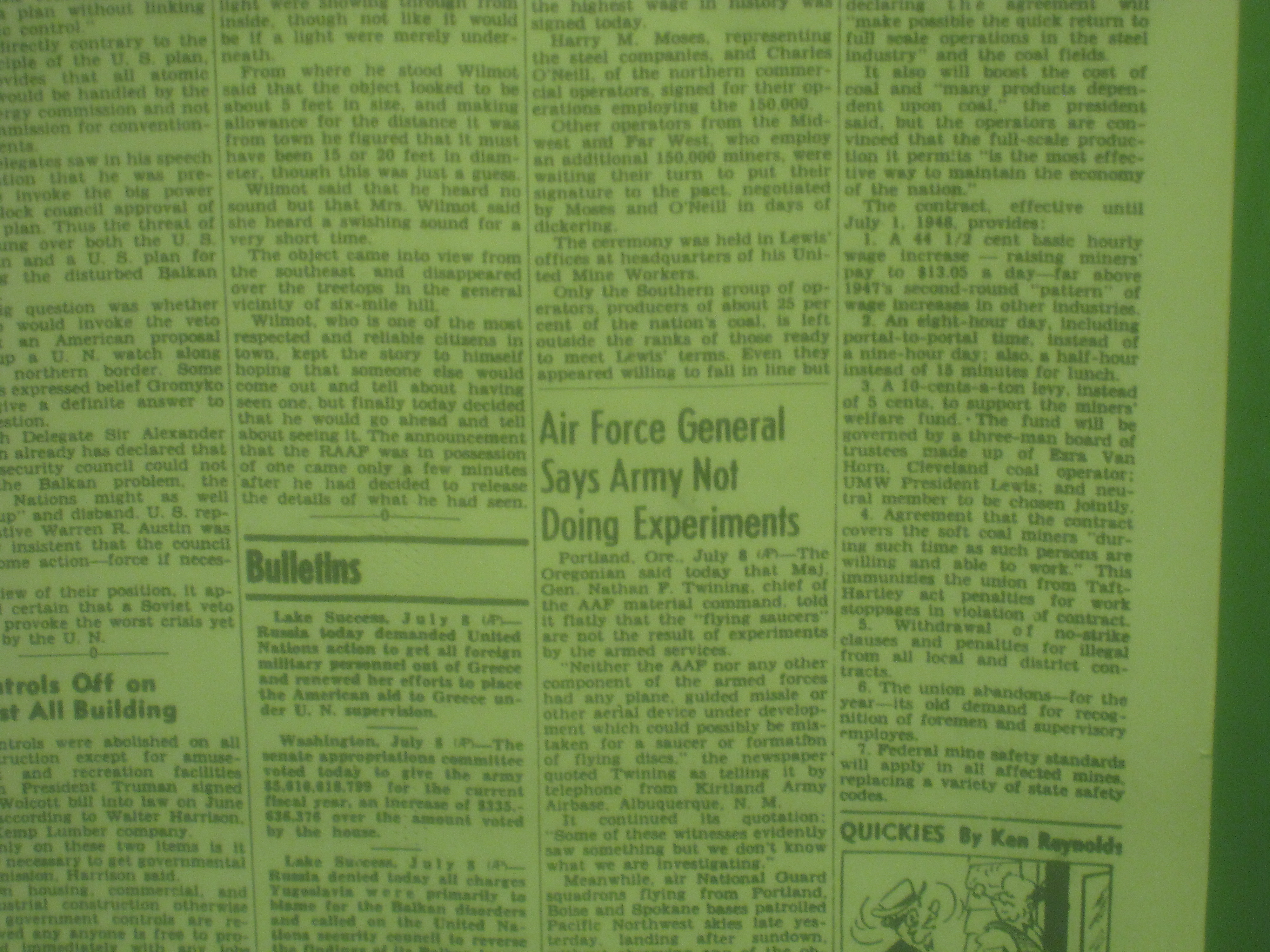 """From the """"Roswell Daily Record"""":  Air Force General says """"Army not doing experiments""""."""