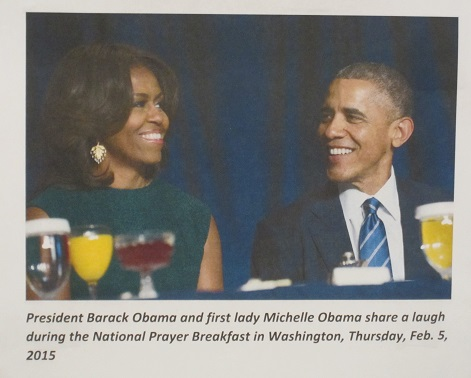 Barack and Michelle Obama at the National Prayer Breakfast--2015