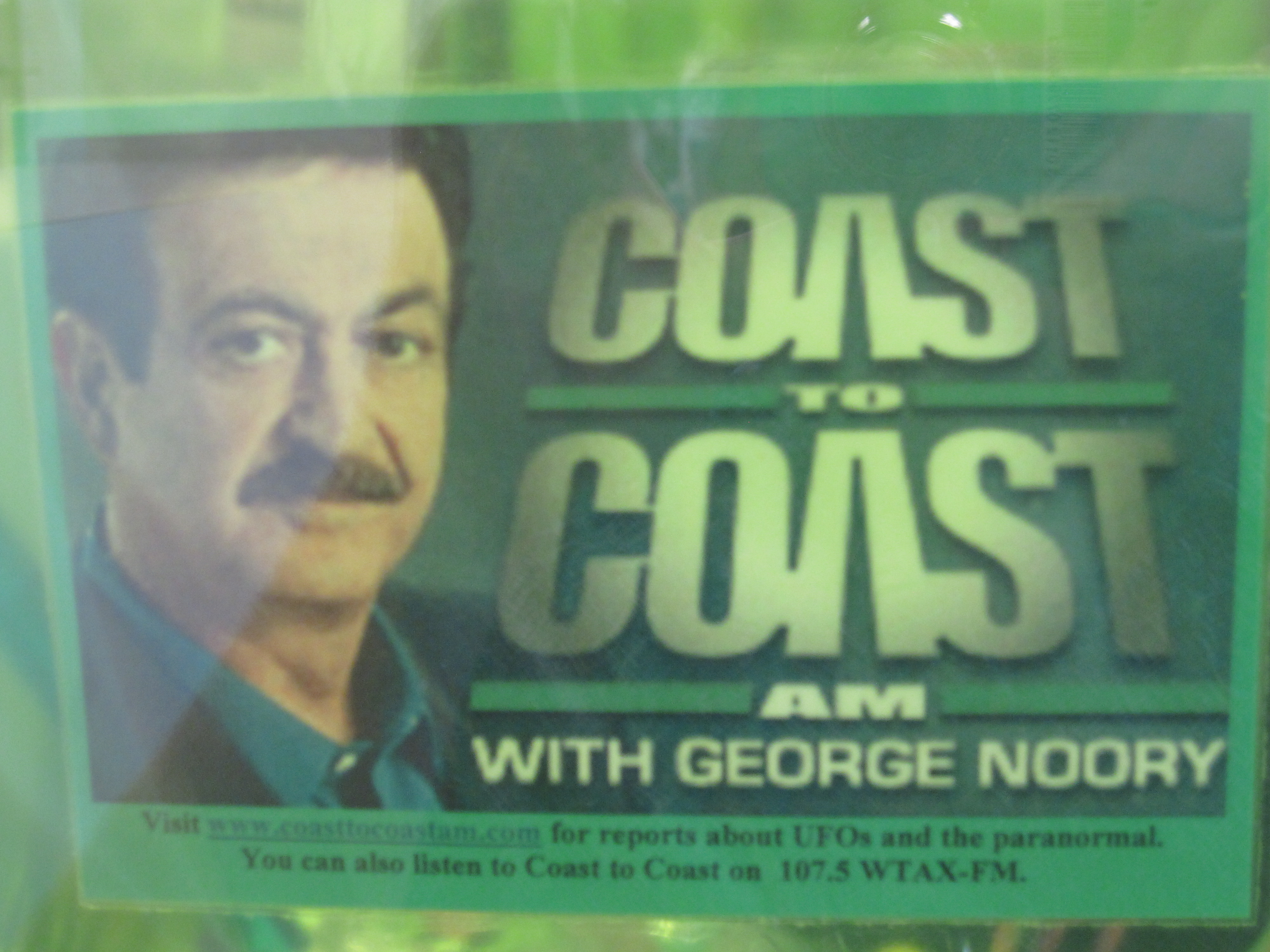 Visit www.coasttocoastam.com for reports about UFOs and the paranormal. You can also listen to Coast to Coast on  107.5 WTAX-FM.