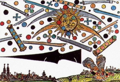 """Illustration of a Nuremburg UFO sighting, April 14, 1561. Held at the Wickiana Collection in the Zurich Central Library.  From a woodcut by Hans Glasser, it appeared in a local broadsheet.  """"The globes, crosses and tubes began to fight one another, and this went on for an hour. Then they all fell to earth, as if on fire, and faded slowly away producing a lot of steam. Afterwards a black spear-like object was seen, and the whole event was taken to be a divine warning."""""""