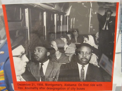 December 21, 1956--Montgomery, AL--On first ride with Rev. Abernathy after desegregation of city buses