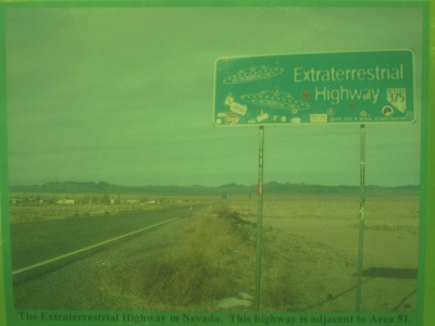 The Extraterrestrial Highway in Nevada.  This highway is adjacent to Area 51.