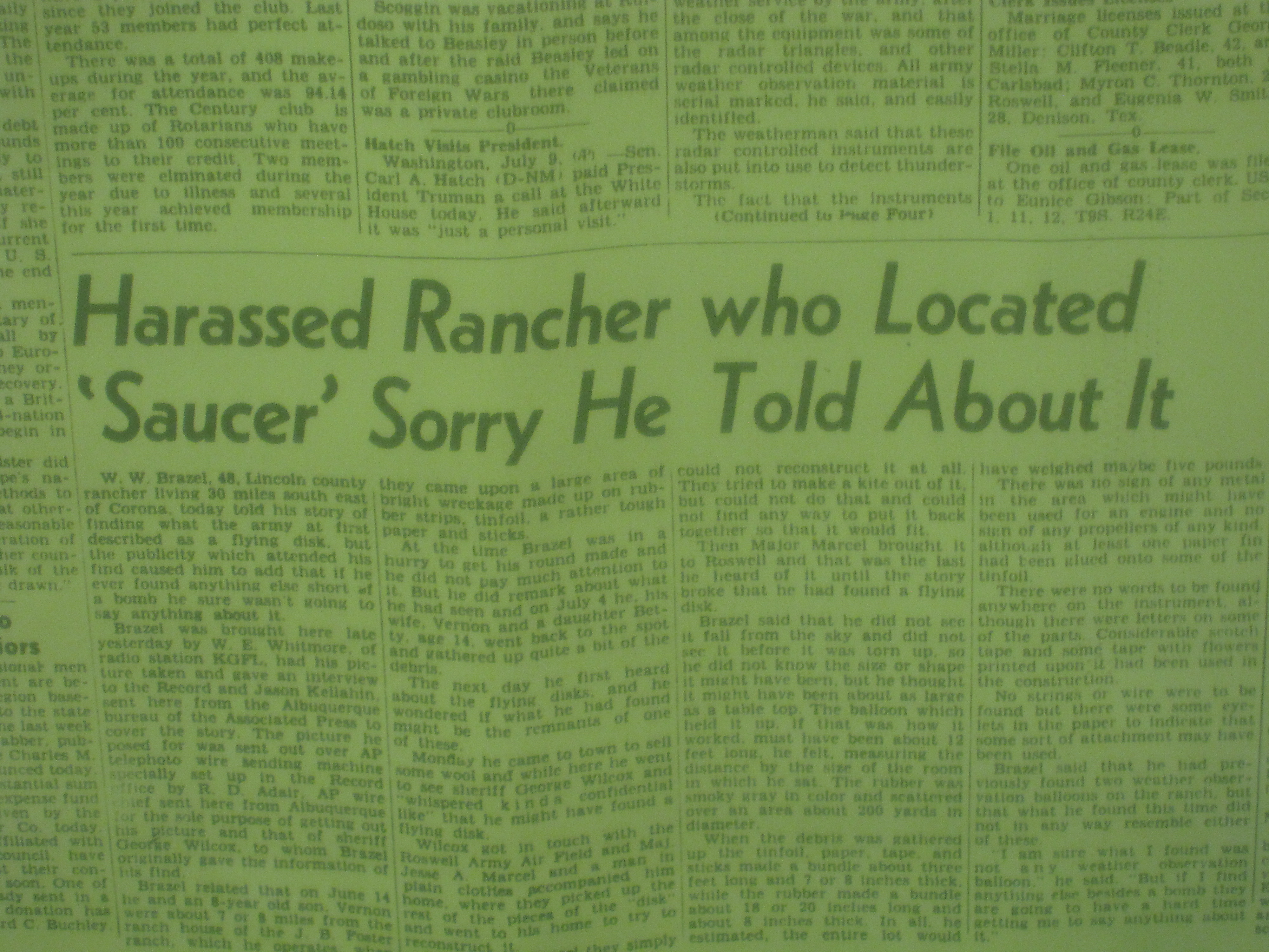 """""""Harrassed Rancher Who Located Saucer 'sorry he told about it'."""""""