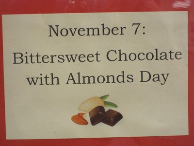 November 7--Bittersweet Almonds With Chocolate Day