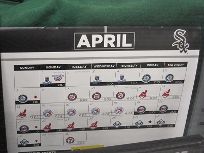 White Sox Calendar--April