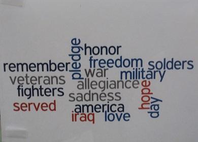 Words honoring veterans