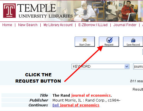 The sceenshot below identifies the location of the request button on the catalog record