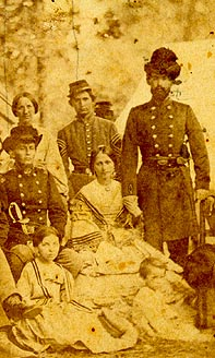 Detail from a photograph taken near Richmond, Virginia, when a group of wives and sisters visited their relatives at a Confederate camp