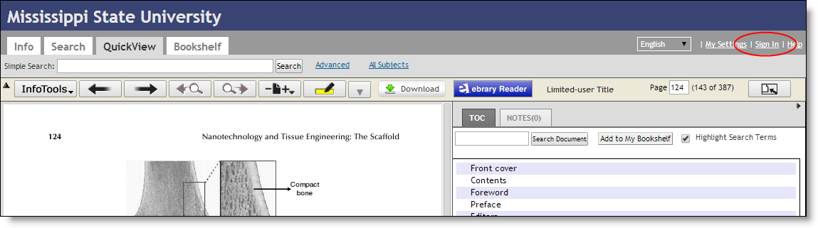 Screen Capture of ebrary browser view