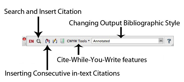 EndNote cite while you write Toolbar Mac