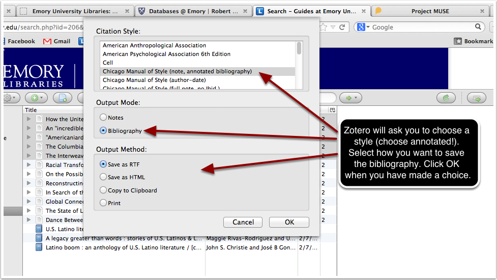 screenshot of output options provided when selecting to choose an annotated citation style