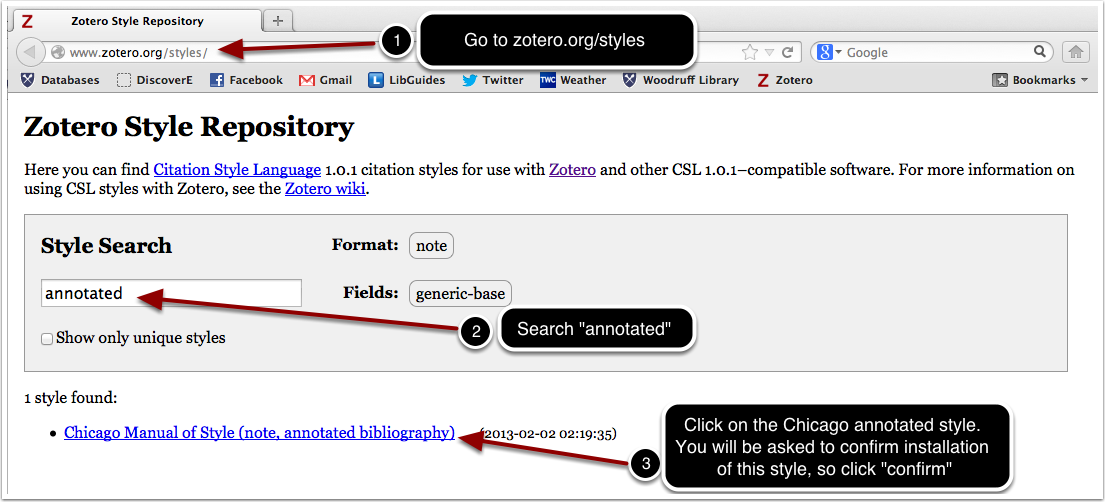 """screenshot of a search for """"annotated"""" in the Zotero Style Repository"""