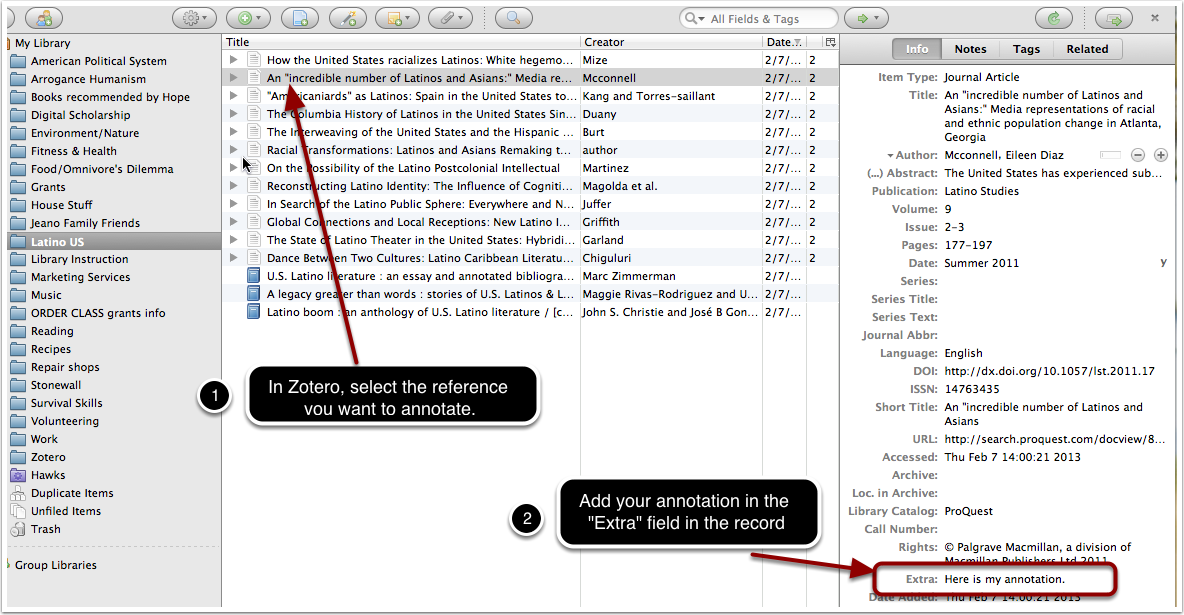 """screenshot of a Zotero library and the """"Extra"""" field in a selected library item"""