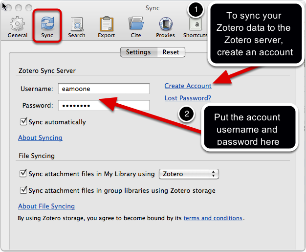 Click the sync tab on zotero preferences. Choose create account. Create an account at the Zotero website. Then put that user name and password on the sync tab of zotero preferences.