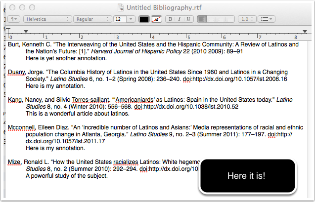 screenshot of bibliography created by Zotero (rtf format for this example)