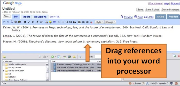 "Screenshot of a bibliography in Google Docs with the Zotero plugin, captioned ""Drag references into your word processor."""