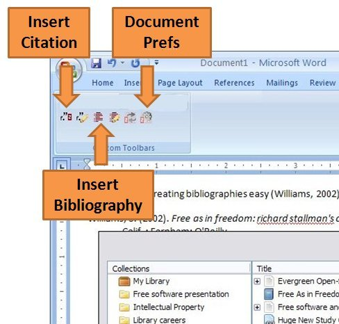 "Screenshot of Microsoft Word showing Zotero plugin buttons labeled ""Insert Citation,"" ""Insert Bibliography,"" and ""Document Prefs."""