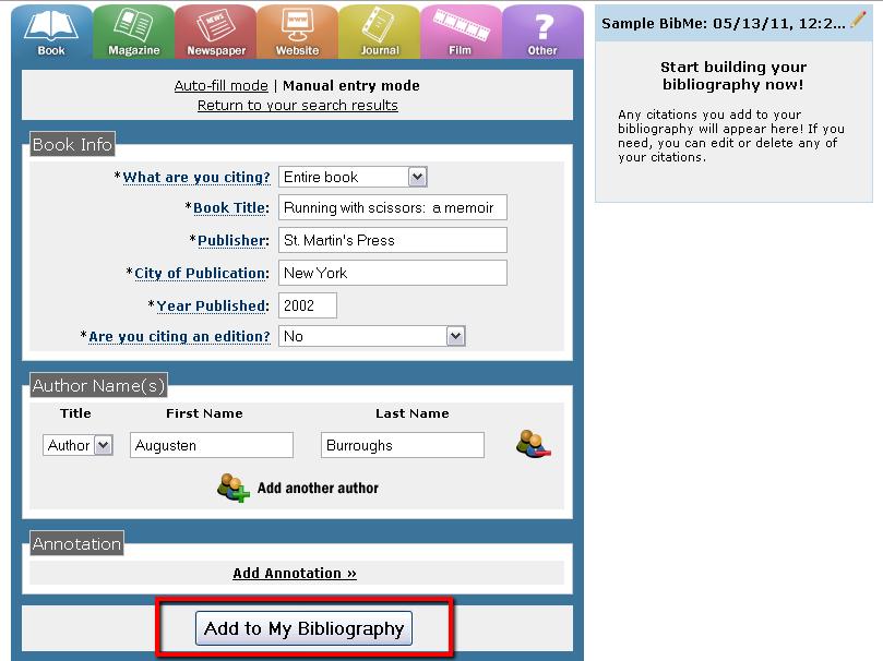 BibMe - add item to bibliography
