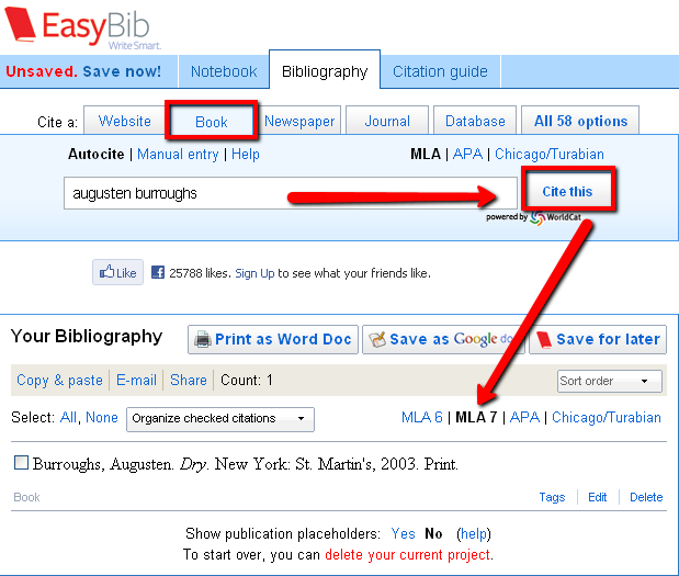 EasyBib - create citation