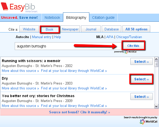 EasyBib - search for a book by author