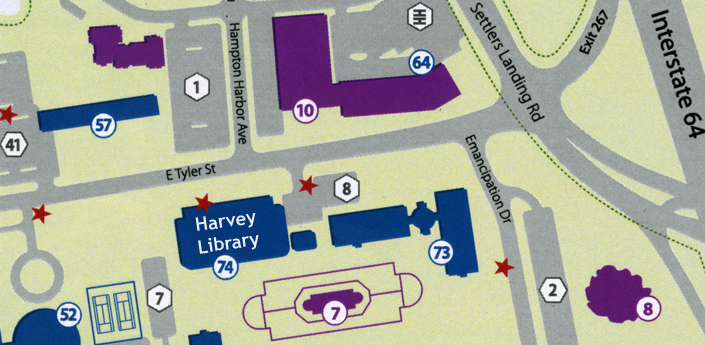 Map of HU Harvey Library and surrounding parking areas