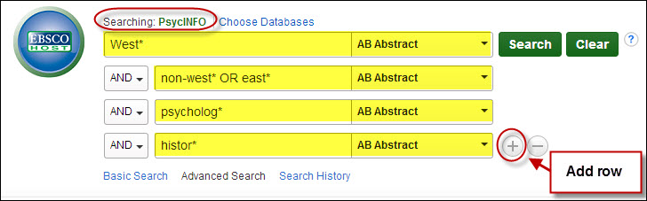 Screenshot of sample search in PsycINFO.