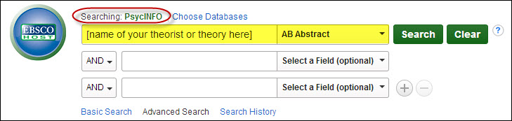 Search in PsycINFO for name of a theorist (unspecified) in first search box. AB Abstract is selected in the drop-down menu.