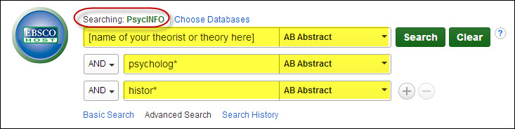 Search in PsycINFO for name of a theorist (unspecified) in first search box, psycholog* in second search box, histor* in third search box.  AB Abstract is selected in all drop-down menus.