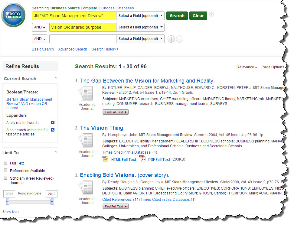 Screenshot of search in Business Source Complete. Leave first line as is. Vision or shared purpose in second line.